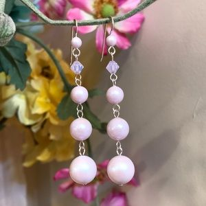 Long Pink pearl earrings, pale pink earrings